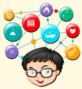 Boy with glasses and science symbols Stock Illustration
