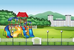 Playground in the middle of the field - stock illustration
