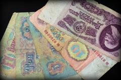 Background from banknotes of old Soviet rubles - stock photo