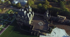 Flying in a helicopter around the castle Stock Footage