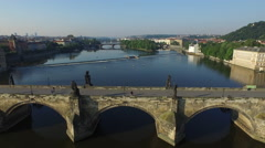 Aerial view of Charles Bridge and Shooter's Island, Prague Stock Footage