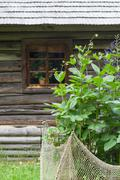 Stock Photo of Flowerbed and wooden log house on background