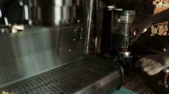 Barista pours ground coffee in holder coffee machine,  Close-up Stock Footage