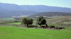 4K rural landscape traditional pen/sheepfold in Greek countryside Stock Footage