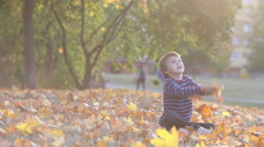 Boy in the park, throwing leaves, kids having fun autumn time Stock Footage
