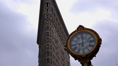 A tie lapse shot of the clock in front of the Flatiron Building in Manhattan, Stock Footage