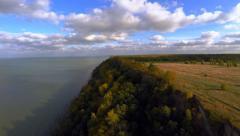 Cliff. Aerial footage. Autumn sunset. Stock Footage