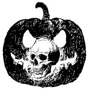 Skull and carving pumpkin Stock Illustration