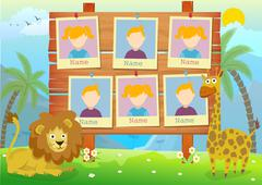 Yearbook for kindergarten with animals Stock Illustration