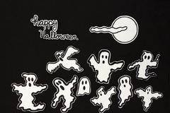 Stock Illustration of halloween decorations ghosts, moon, cloud and letters