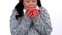 Pretty woman having warm drinks Stock Footage