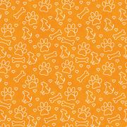 Orange and White Doggy Tile Pattern Repeat Background - stock illustration