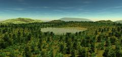 The sacred lake at the height of the hill in the spring time. - stock illustration