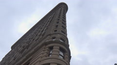 A low angle time lapse shot of the Flatiron Building in Manhattan, New York Stock Footage