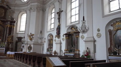 Sebastian church indoor panning Salzburg Austria Stock Footage