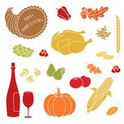 Thanksgiving colorful elements. Stock Illustration