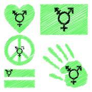 Israeli transgender and genderqueer pride design elements. Stock Illustration
