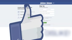 Finger down in facebook - like Stock Footage