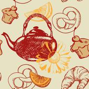 Stock Illustration of seamless pattern with teapot