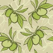 Olive seamless pattern Stock Illustration