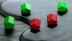 Close-up of flooded toy houses Stock Footage