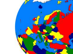 European continent on political globe - stock illustration