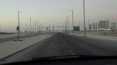Global Financial Crisis - driving an empty unfinished road, Abu Dhabi Stock Footage