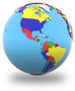 Western hemisphere on the globe - stock illustration