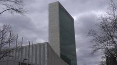 Establishing shot of the United Nations in New York City. Arkistovideo