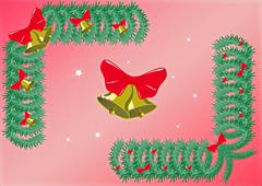 Christmas tree with balls with cones and bells - stock illustration