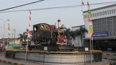 Railway station with old steam loc,Bandung,Java,Indonesia Stock Footage