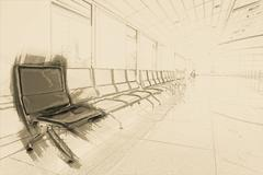 Airport waiting area - stock illustration