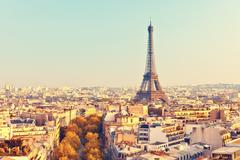 View on Eiffel tower at sunset - stock photo