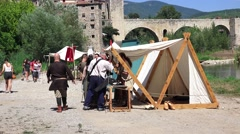 Medieval Fair in Besalú, a picturesque village in the province of Gerona Stock Footage