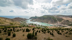 Panoramic view of Balaklava Bay from the hill, Crimea. Timelapse 4k Stock Footage