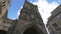 Close view of the Powder Tower on Celetna street in Prague Stock Footage