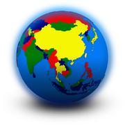 Southeast Asia on political globe Stock Illustration