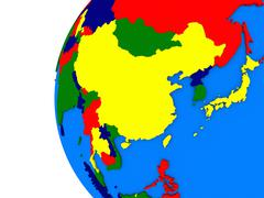 east Asia region on political globe - stock illustration
