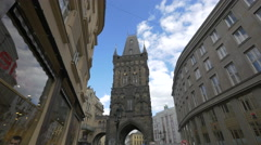 Celetna street and the Powder Tower in Prague Stock Footage