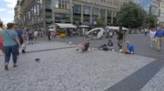 Stock Video Footage of Amazing Football Acrobatics in Wenceslas Square (Václavské náměstí), Prague