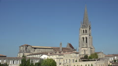 View of the abbey of Saint Emilion Stock Footage