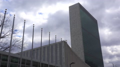Establishing time lapse shot of the United Nations in New York City. Arkistovideo