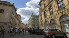 Tourists walking on Melantrichova street, Prague Stock Footage