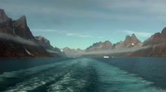 Greenland Prince Christian Sound 108 low stratus along the mountains Stock Footage