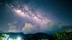 4K Timelapse. Milky Way over the mountains in the tropics Stock Footage