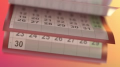 Calendar pages turneng in slow motion Stock Footage