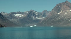 Greenland Prince Christian Sound 093 fjord landscape reflects in turquoise water - stock footage
