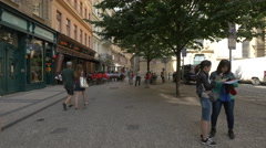Relaxing at the restaurants from Havelská Street, Prague Stock Footage