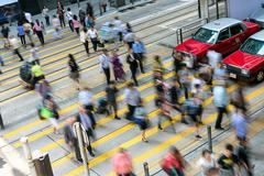 Busy pedestrian crossing at Hong Kong Stock Photos