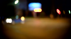 Evening traffic. The city and car lights. C-mount lens circular bokeh blur Stock Footage